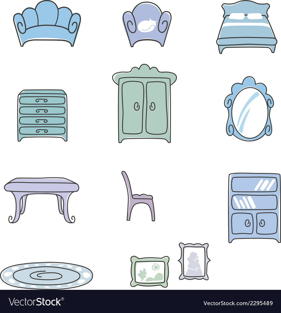 Various types of furniture for living room in eleg vector | Price: 1 Credit (USD $1)