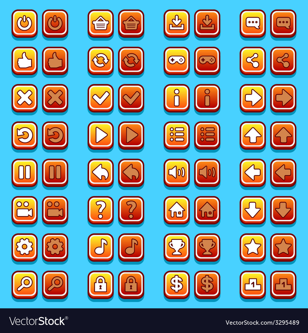 Yellow game icons buttons icons interface vector   Price: 1 Credit (USD $1)