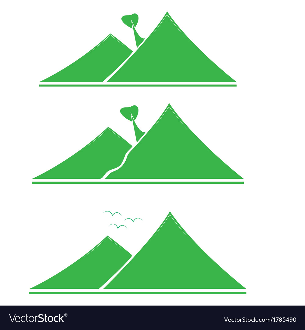 A set of emblems green mountains with tree vector | Price: 1 Credit (USD $1)