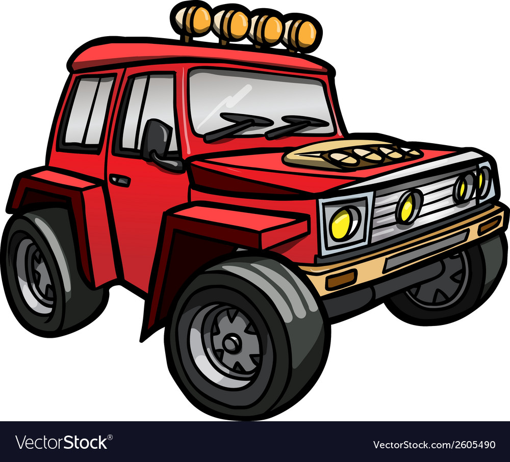 Cartoon red jeep isolated vector | Price: 1 Credit (USD $1)