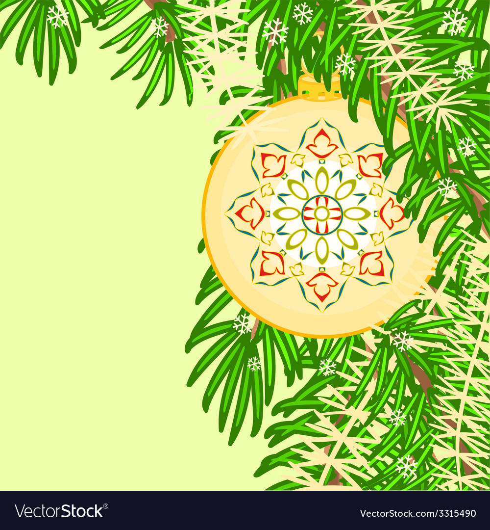 Christmas decoration vintage yellow baubles vector | Price: 1 Credit (USD $1)