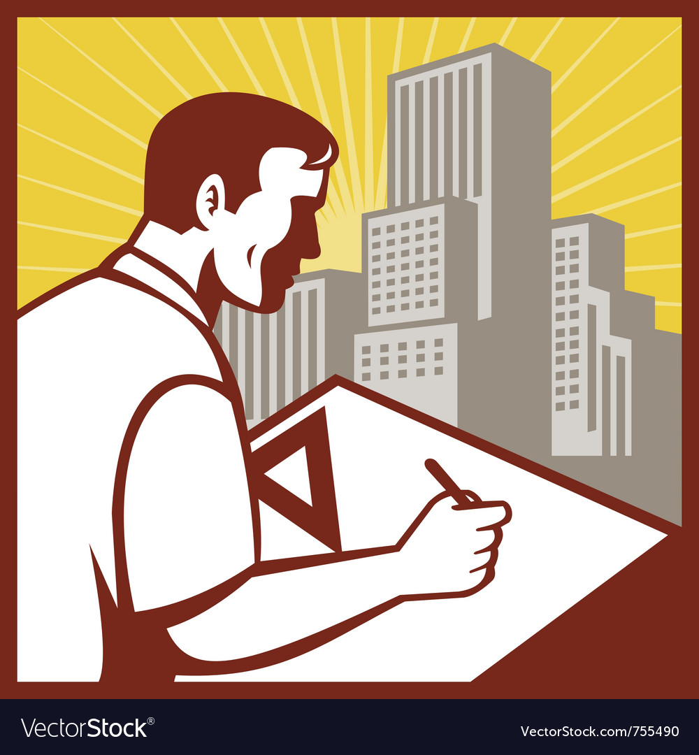 Draftsman architect drawing working vector | Price: 1 Credit (USD $1)
