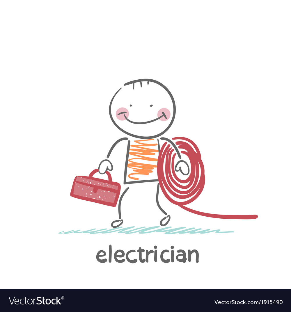 Electrician holding cable and toolbox vector | Price: 1 Credit (USD $1)