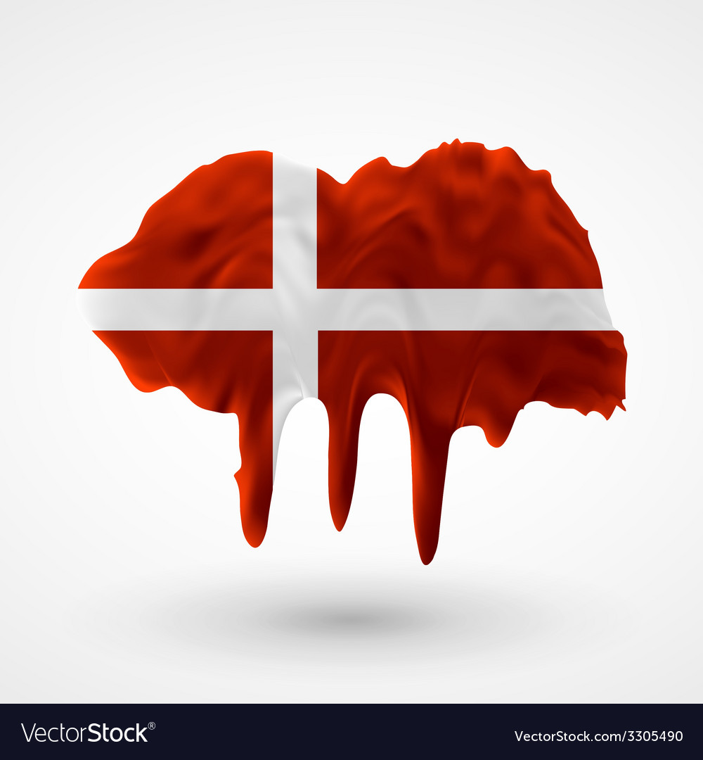 Flag of denmark painted colors vector | Price: 1 Credit (USD $1)
