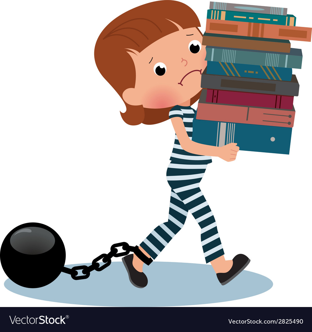 Girl schoolgirl prisoner with books in their hands vector | Price: 1 Credit (USD $1)