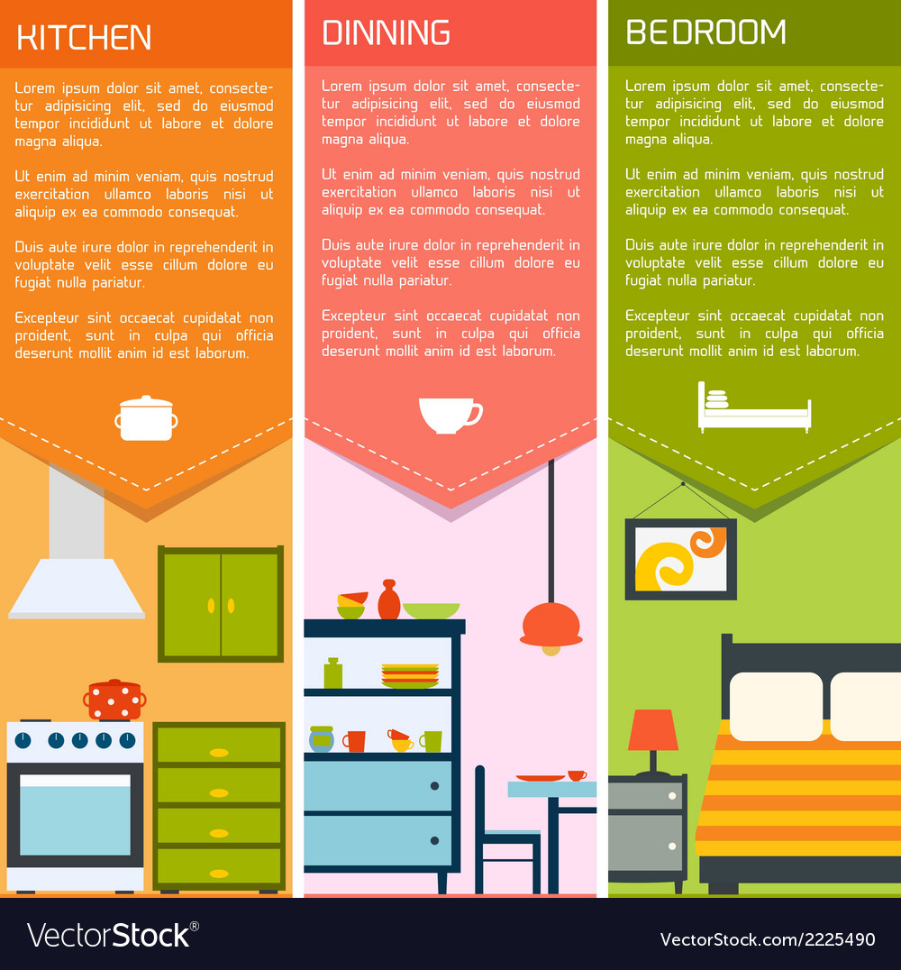 House interior banners vector | Price: 1 Credit (USD $1)