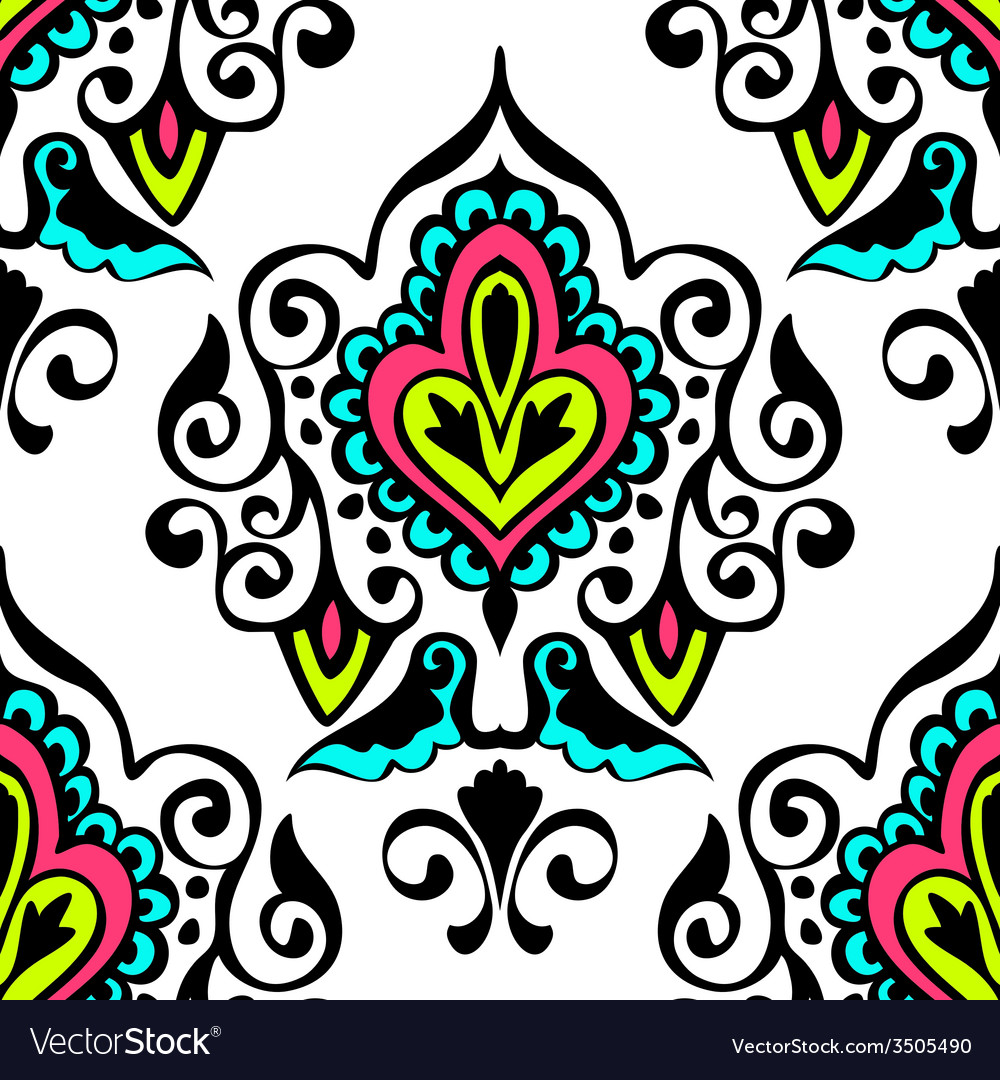 Luxury damask seamless pattern floral vector | Price: 1 Credit (USD $1)