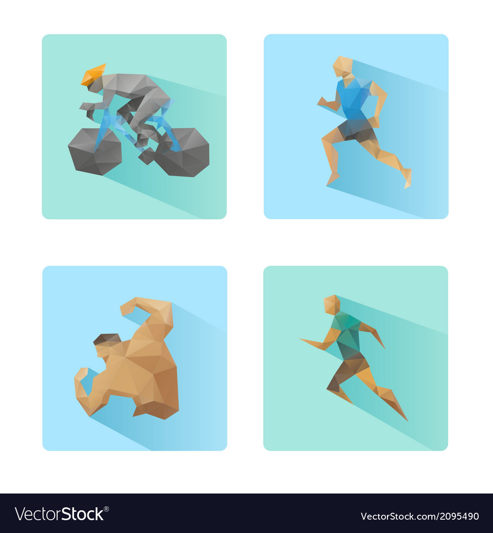 Set of flat design sport icons isolated vector | Price: 1 Credit (USD $1)