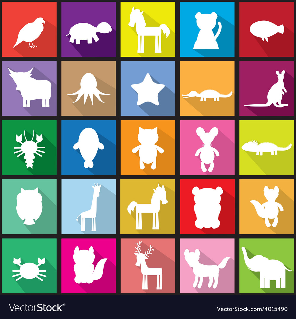 Set silhouettes of animals seamless pattern in vector | Price: 1 Credit (USD $1)