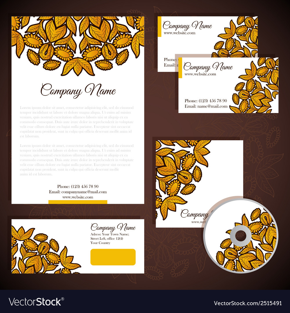 Corporate identity with floral gold ornament vector | Price: 1 Credit (USD $1)