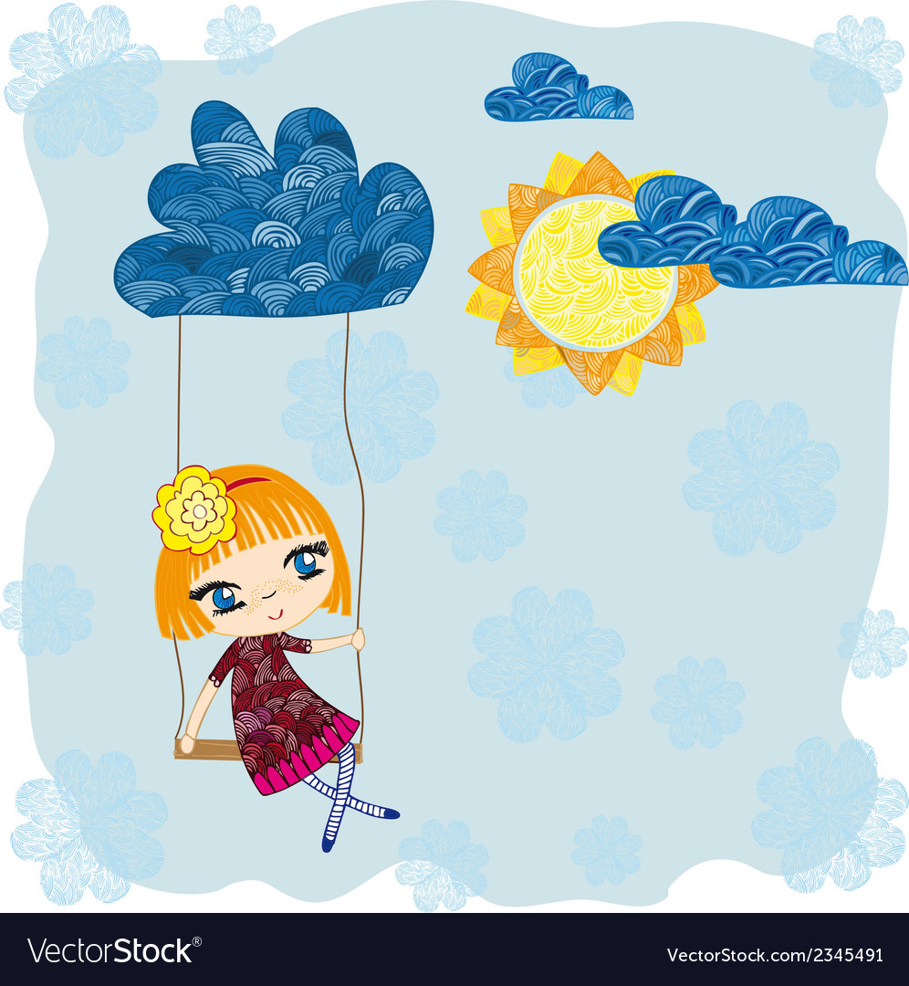 Girl on a swing vector | Price: 1 Credit (USD $1)