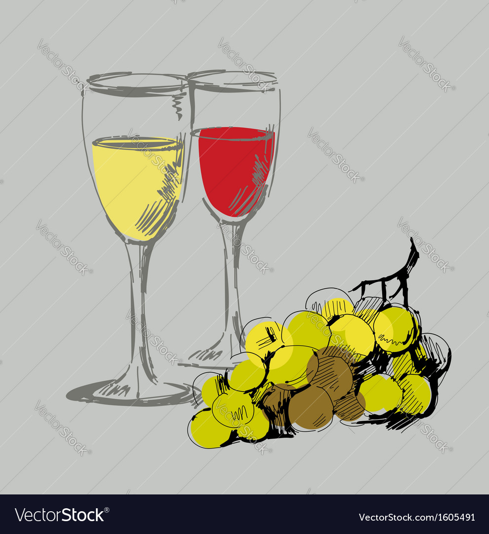 Grape and glass vector | Price: 1 Credit (USD $1)