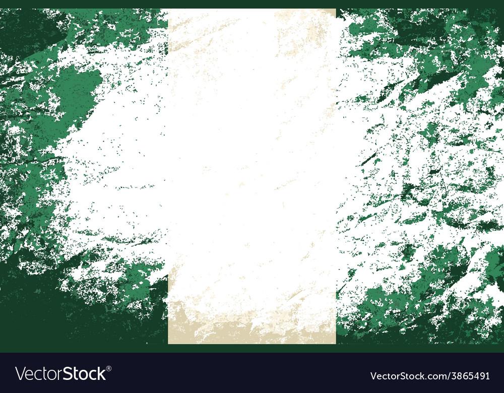 Nigerian flag grunge background vector | Price: 1 Credit (USD $1)