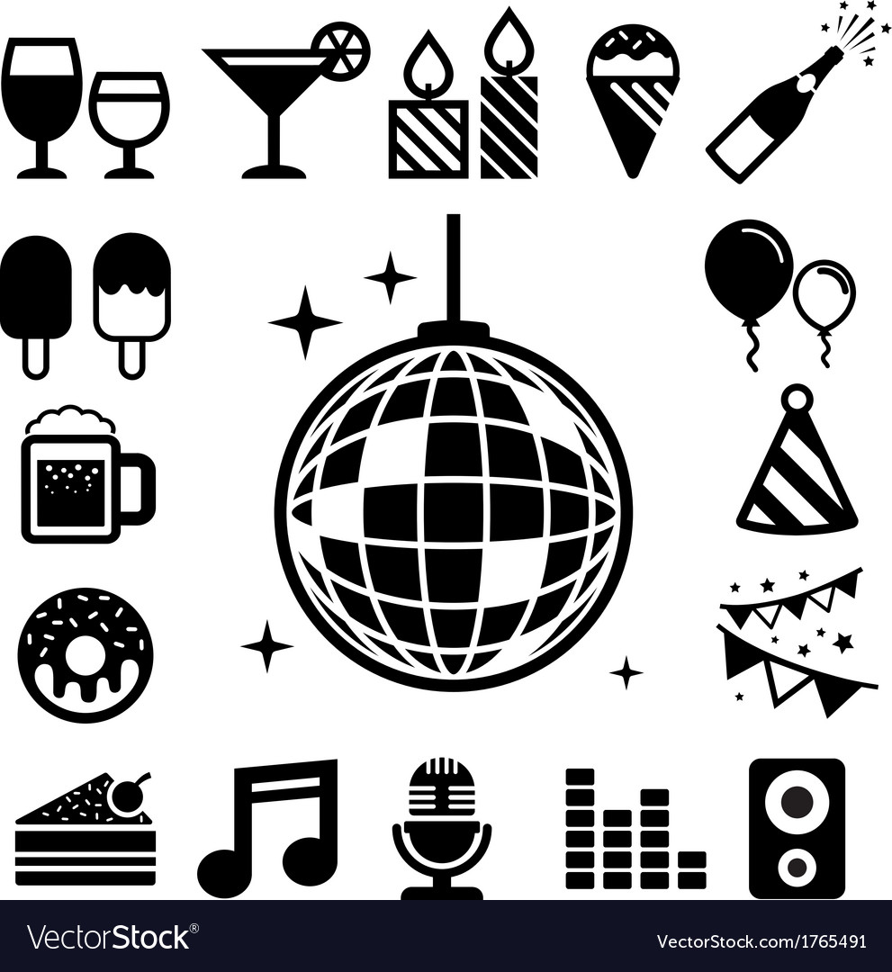 Party and celebration icon set vector | Price: 1 Credit (USD $1)