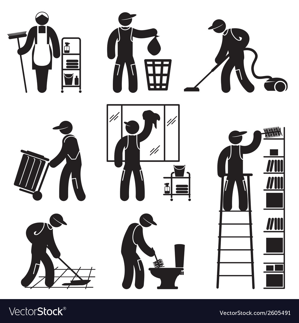 Peoples cleaning icons set vector | Price: 1 Credit (USD $1)