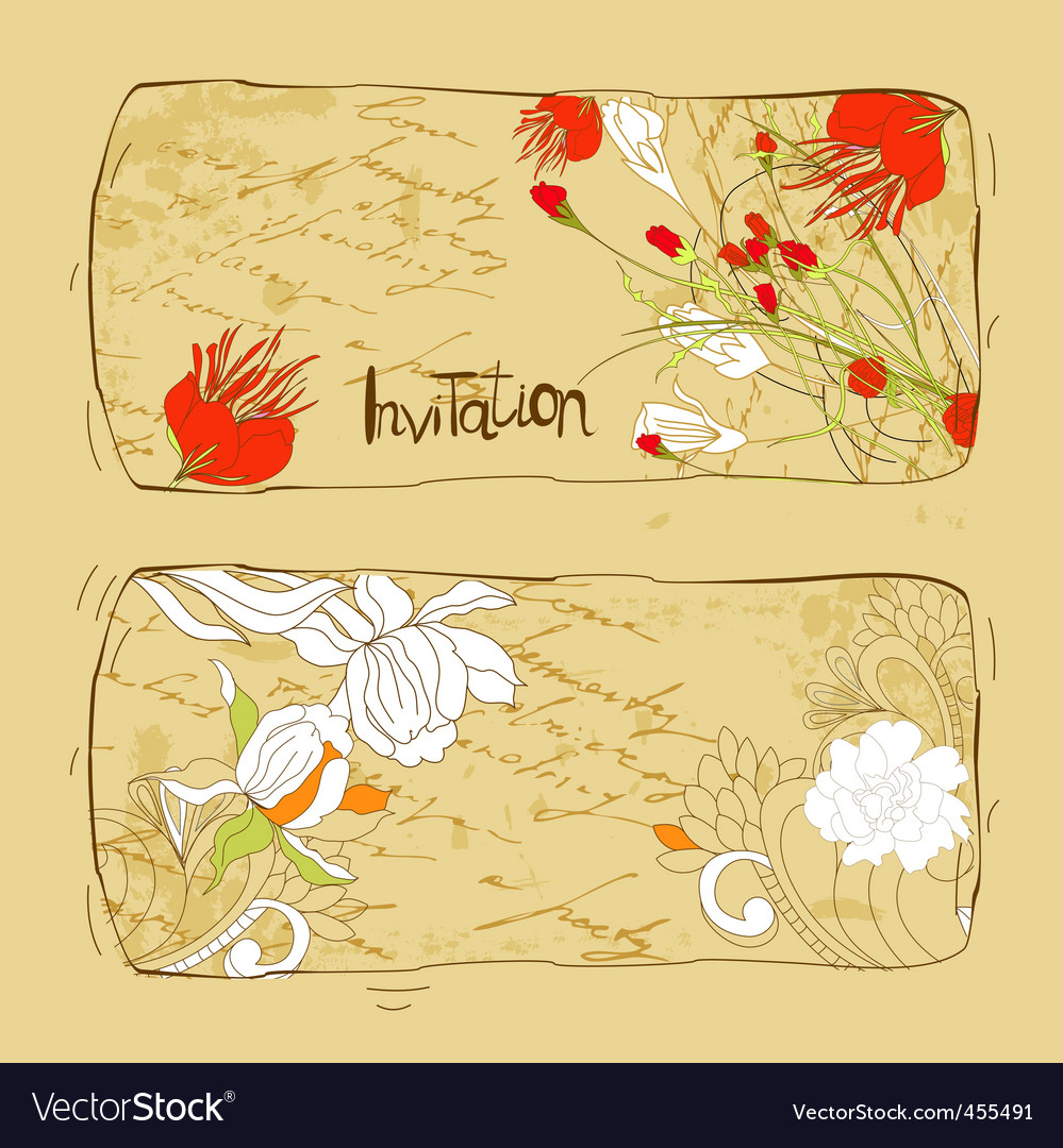 Retro stylized invitations with flowers vector | Price: 1 Credit (USD $1)