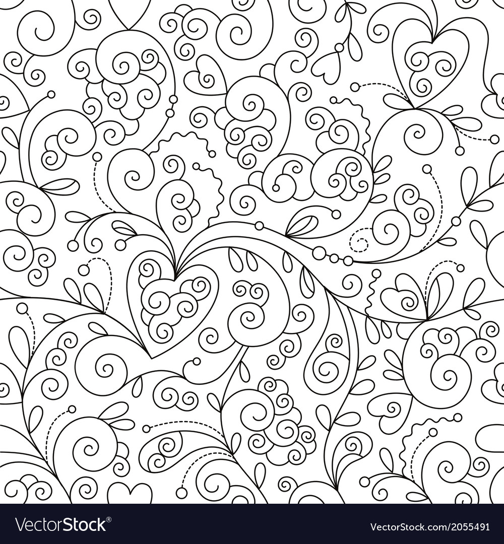 Seamless floral pattern black and white drawing vector | Price: 1 Credit (USD $1)