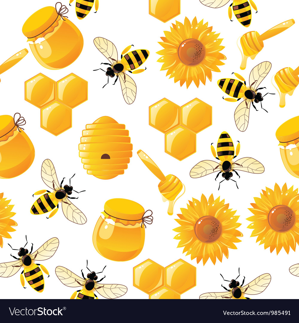 Seamless honey bee pattern vector | Price: 1 Credit (USD $1)
