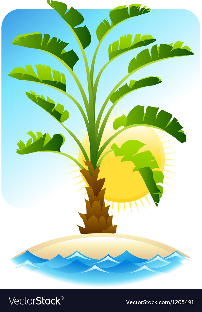 Tropical palm with sea on sunny background vector | Price: 1 Credit (USD $1)