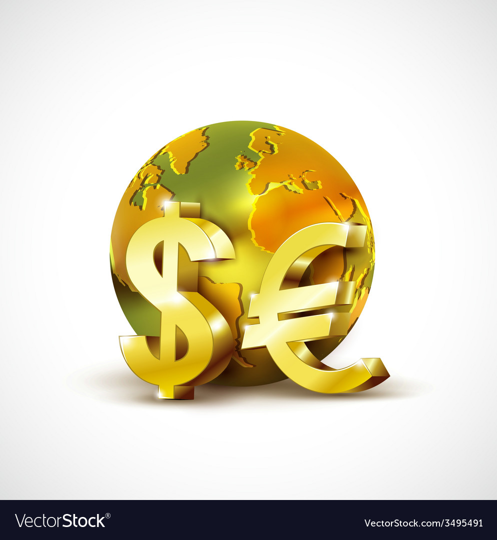 World economic concept with 3d gold world dollar vector | Price: 1 Credit (USD $1)