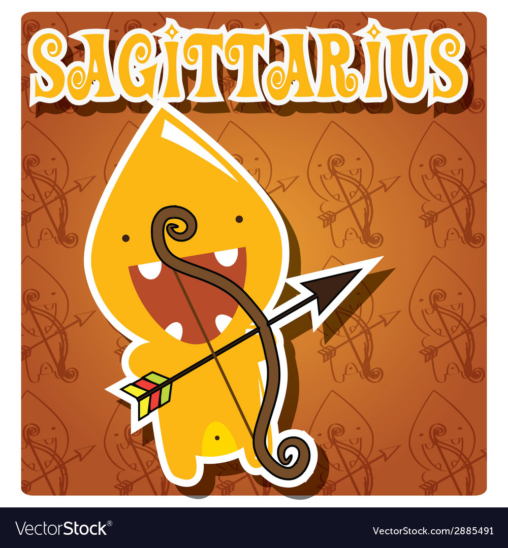 Zodiac sign sagittarius with cute colorful monster vector | Price: 1 Credit (USD $1)