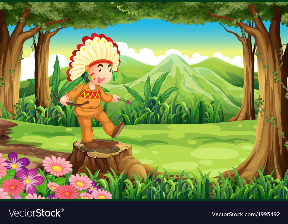 An indian at the forest vector | Price: 3 Credit (USD $3)
