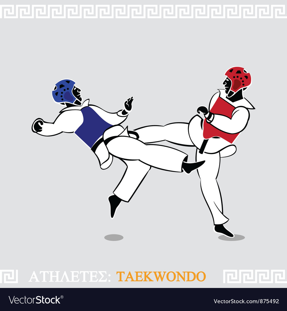 Athlete taekwondo fighters vector | Price: 1 Credit (USD $1)
