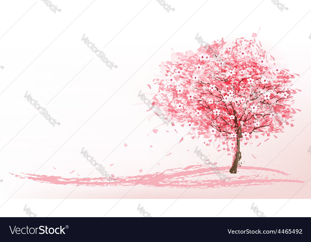 Beautiful background with a pink blooming sakura vector | Price: 3 Credit (USD $3)