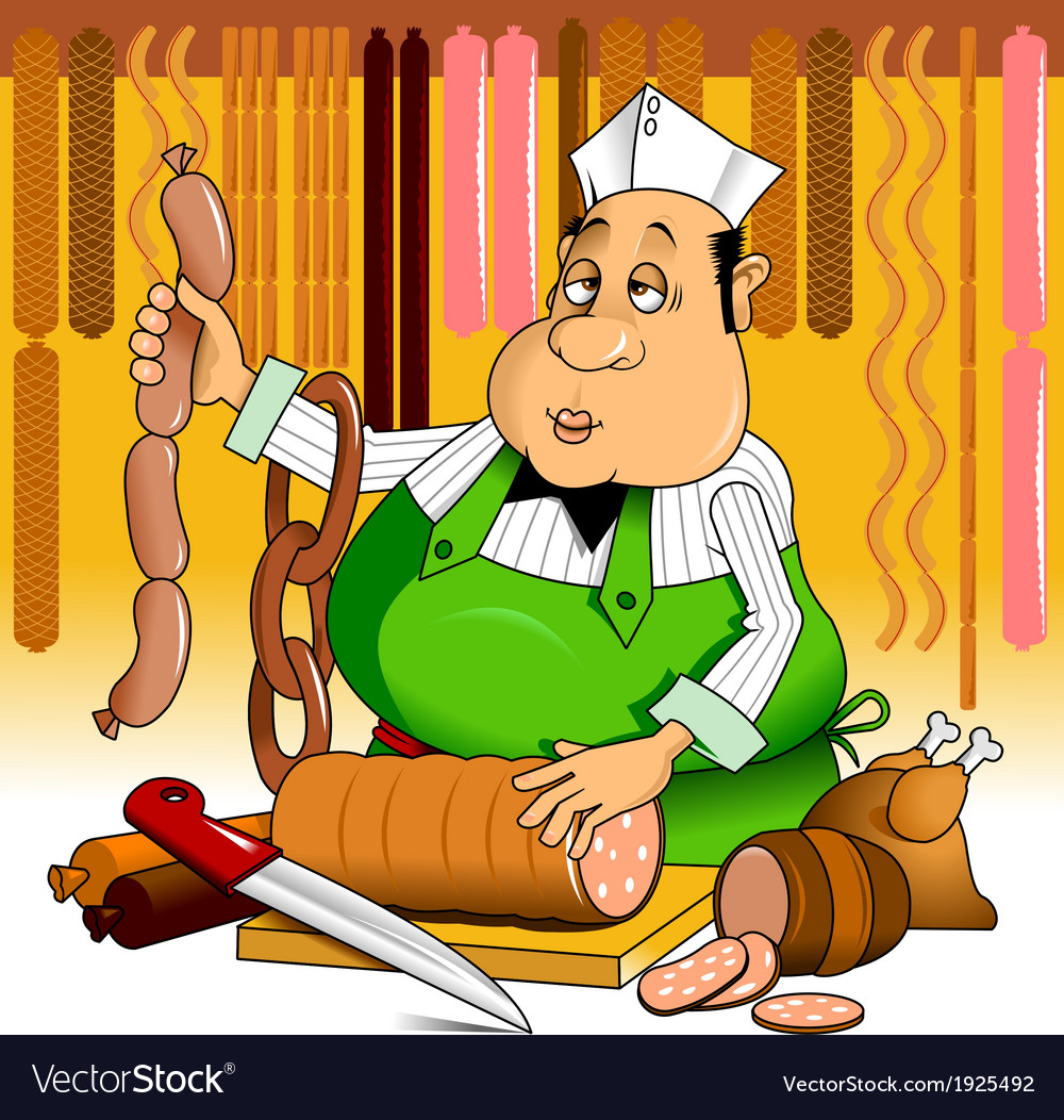Butcher with meat vector | Price: 1 Credit (USD $1)