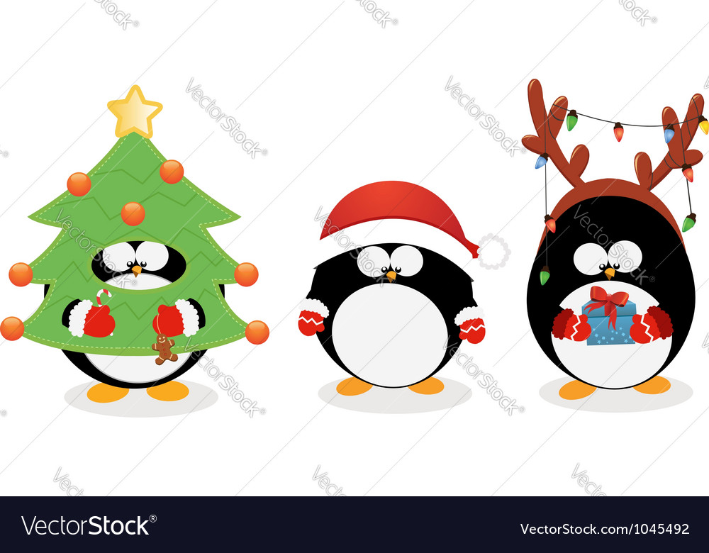 Christmas penguin set vector | Price: 3 Credit (USD $3)