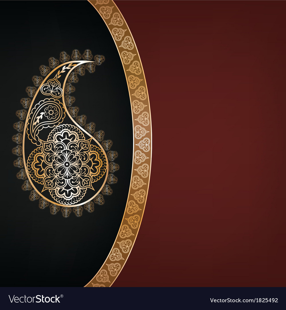 Dark background with golden paisley vector | Price: 1 Credit (USD $1)