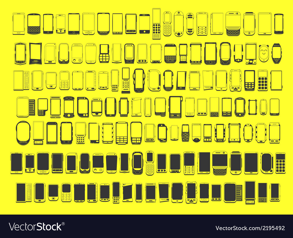 Large set of different abstract 100 mobile phones vector | Price: 1 Credit (USD $1)