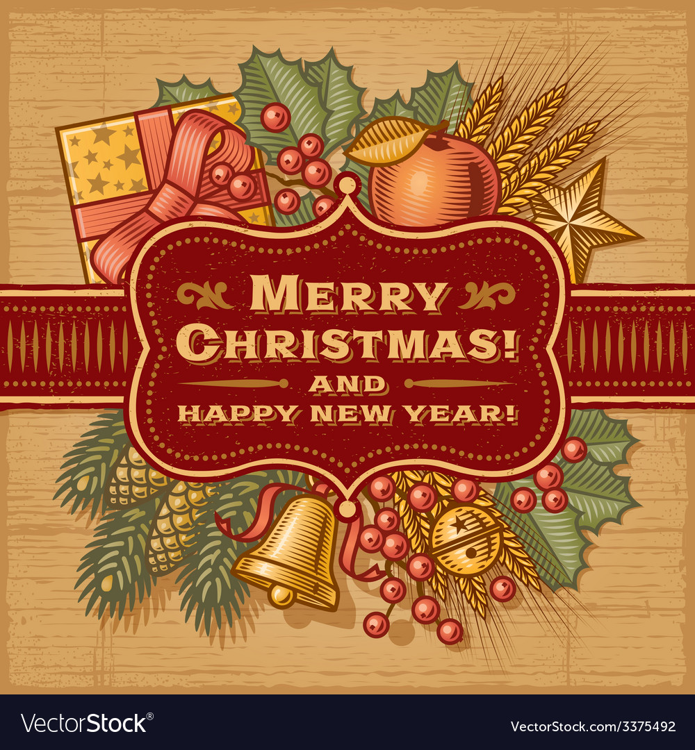Merry christmas retro card vector | Price: 3 Credit (USD $3)