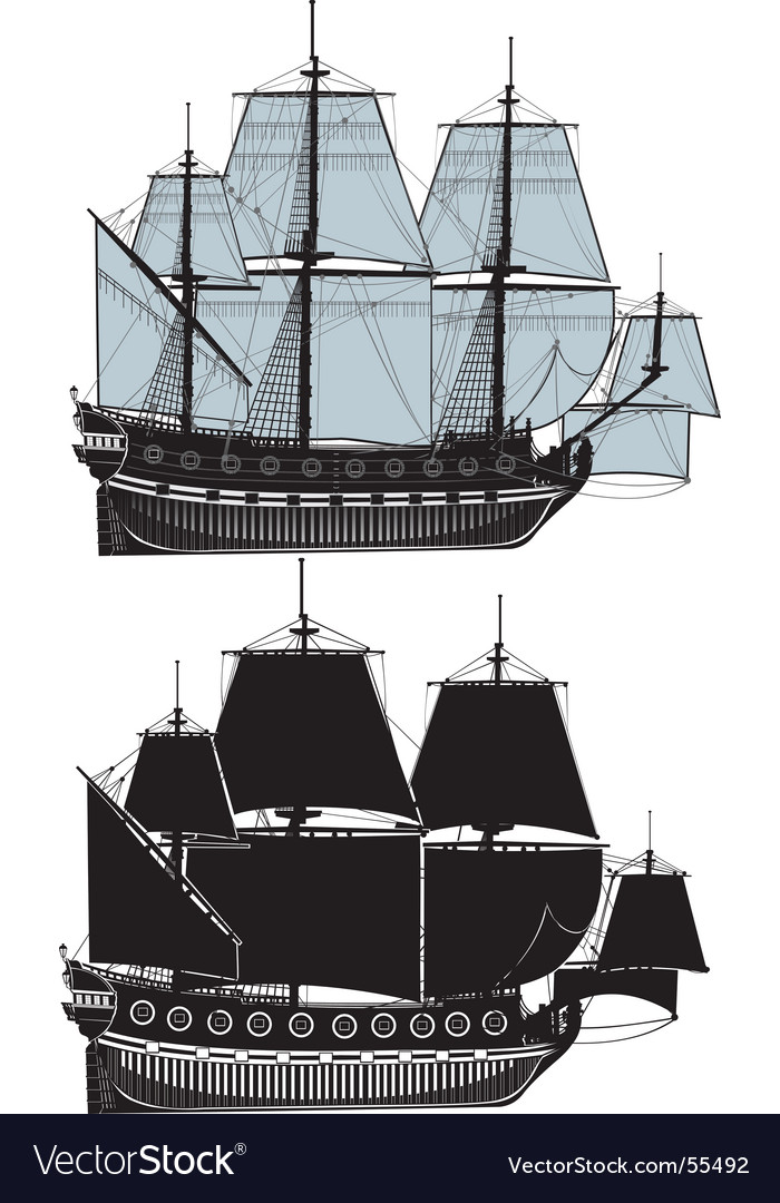 The old sailing ship vector | Price: 1 Credit (USD $1)