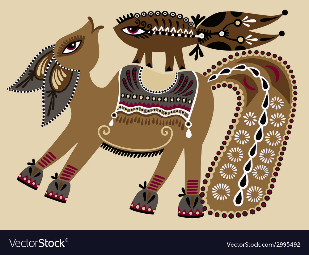 Ukrainian tribal ethnic painting unusual horse vector | Price: 1 Credit (USD $1)