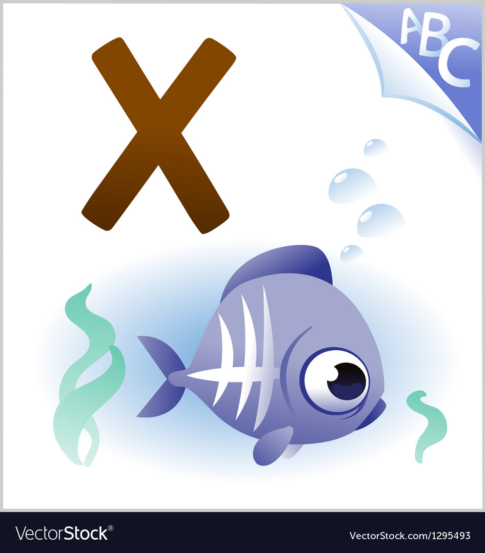 Animal alphabet for the kids x for the x-ray fish vector | Price: 1 Credit (USD $1)