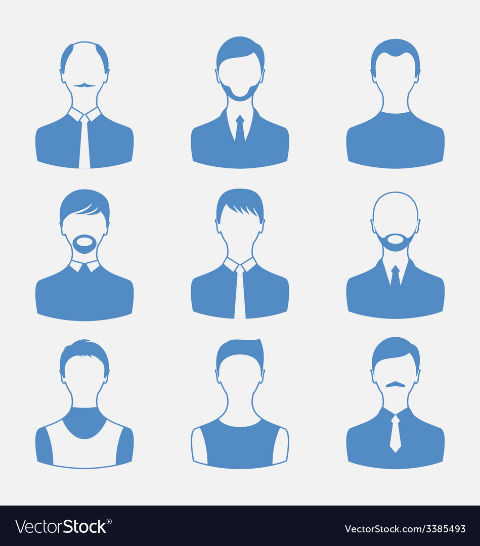 Avatars set front portrait of males isolated on vector | Price: 1 Credit (USD $1)