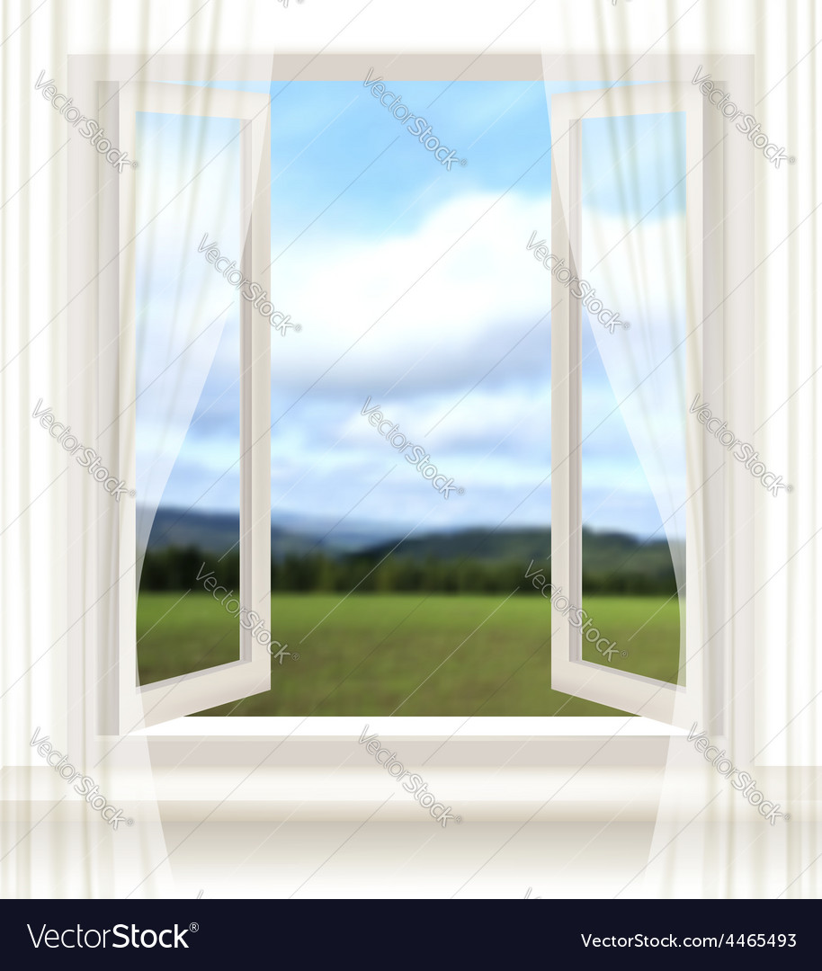Background with an open window and a landscape vector | Price: 3 Credit (USD $3)