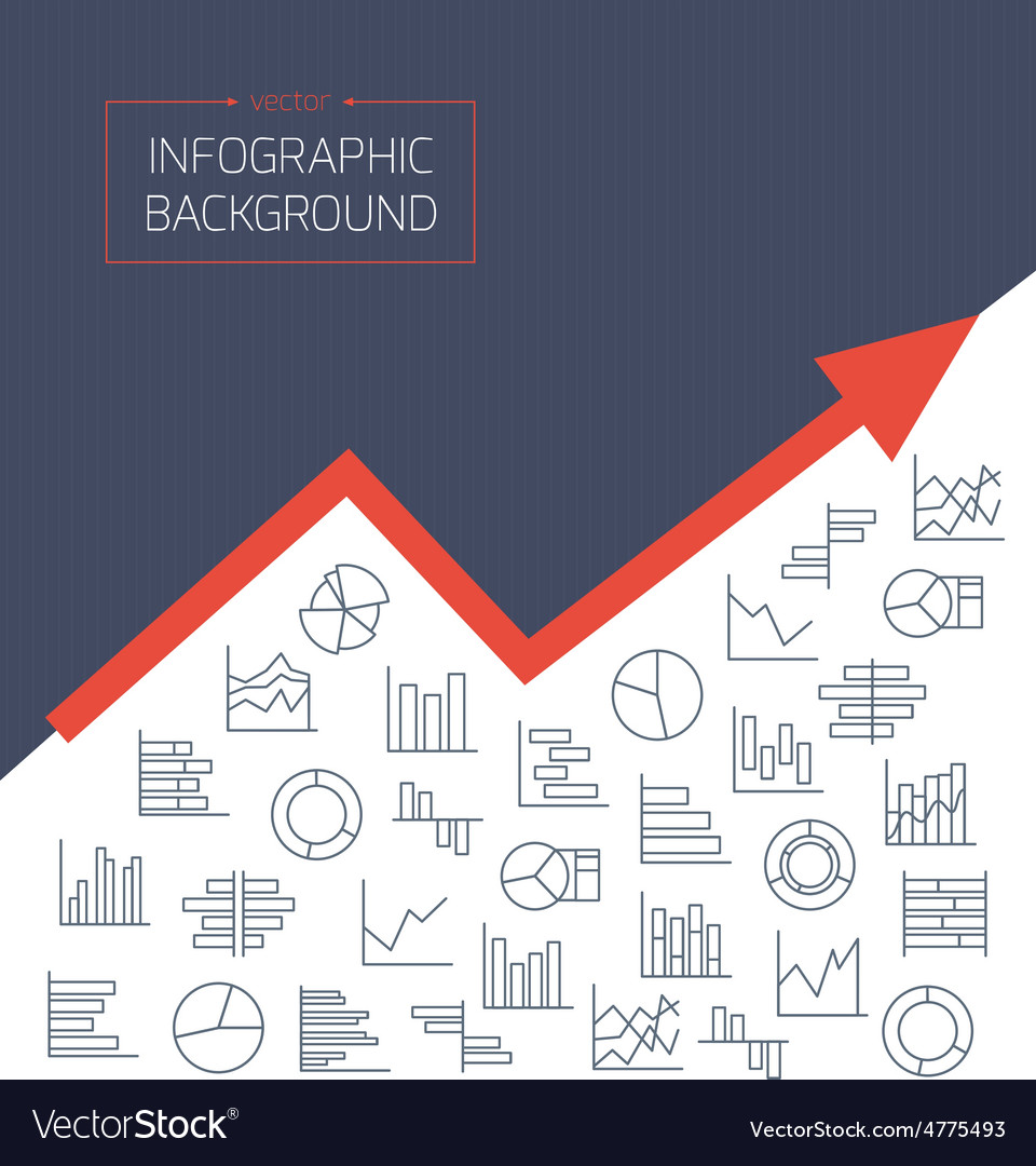 Business background with chart icons in thin lines vector | Price: 1 Credit (USD $1)