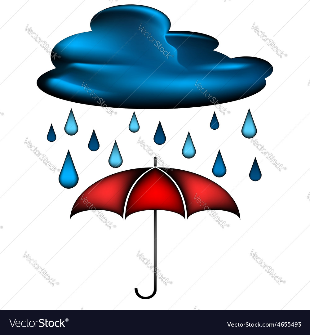 Cloud with rain water drops and red umbrella vector | Price: 1 Credit (USD $1)