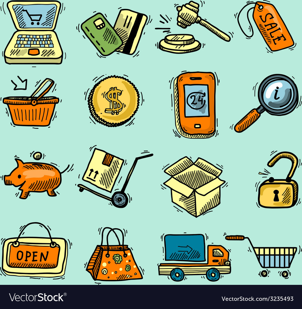 E-commerce color icons set vector | Price: 1 Credit (USD $1)