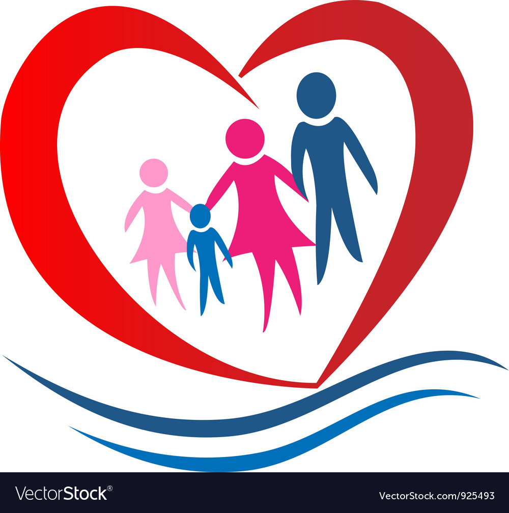 Family heart logo vector | Price: 1 Credit (USD $1)