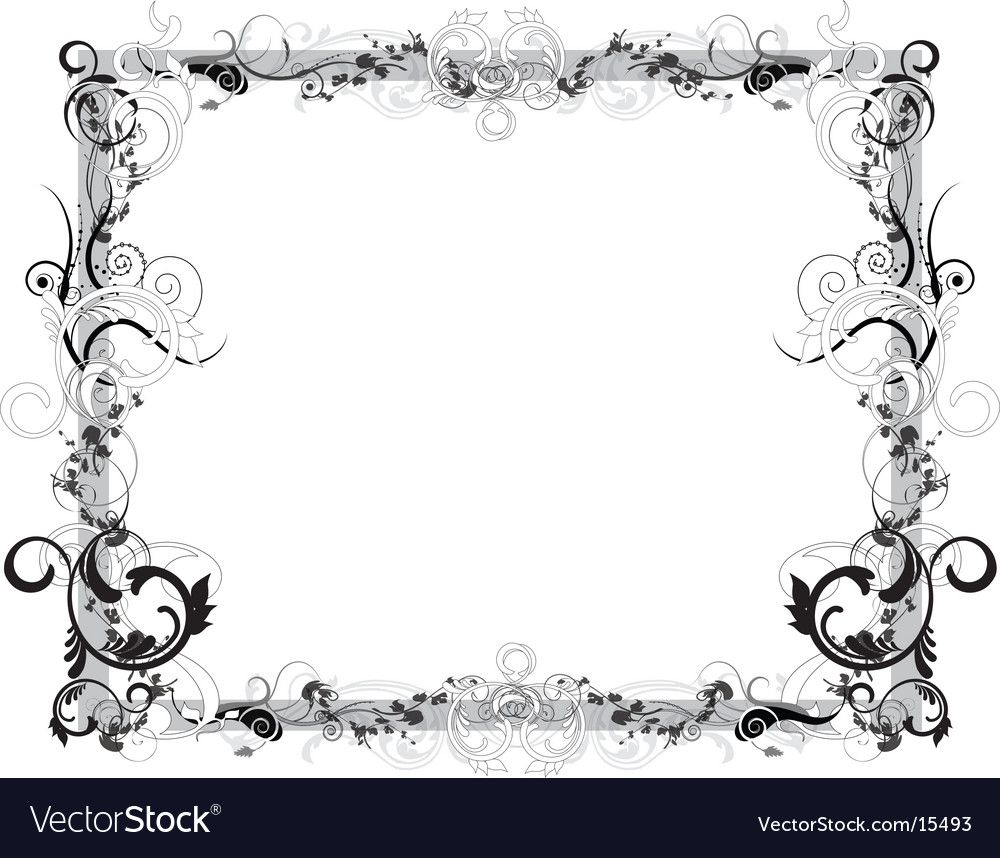 Flower black and white frame vector | Price: 1 Credit (USD $1)