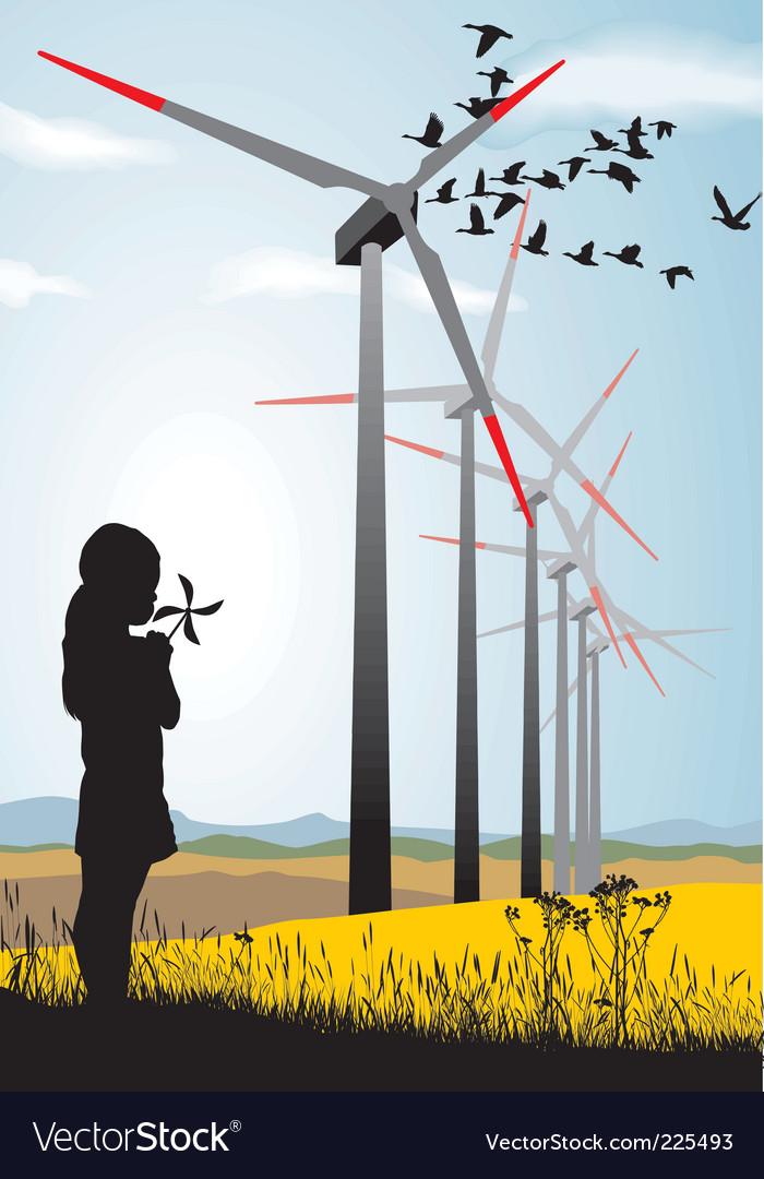 Girl and wind turbine vector | Price: 1 Credit (USD $1)