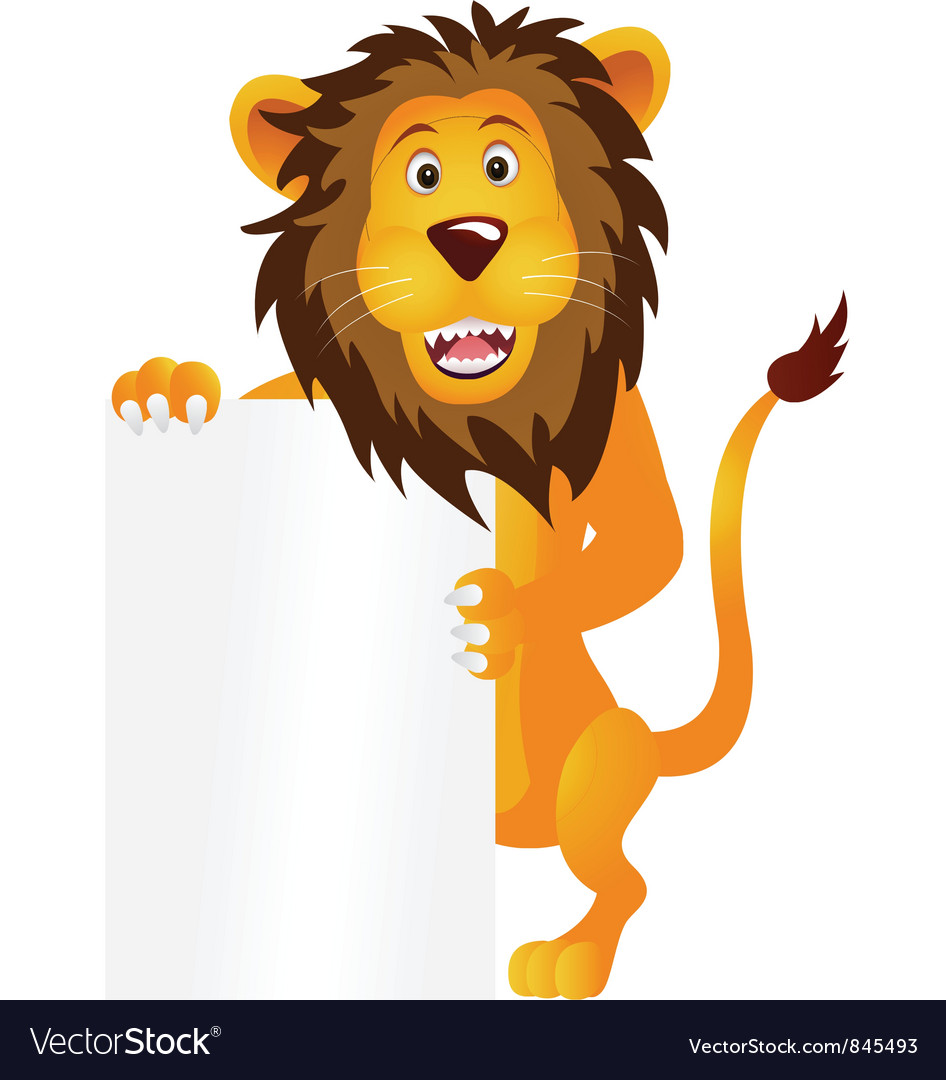 Lion with blank sign vector | Price: 1 Credit (USD $1)