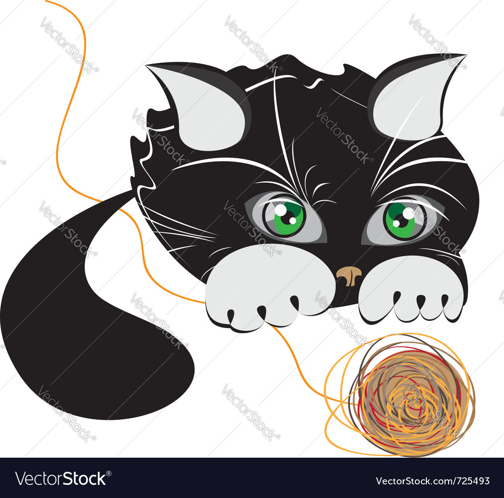 Little black kitten playing with a ball of yarn vector | Price: 1 Credit (USD $1)