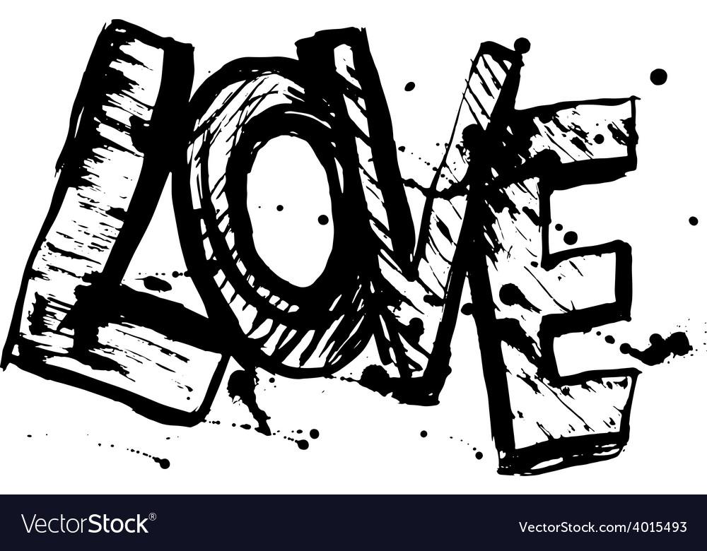 Love letters black sketch vintage poster vector | Price: 1 Credit (USD $1)