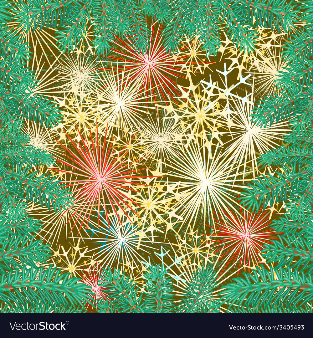 New year fireworks and spruce branch vector | Price: 1 Credit (USD $1)