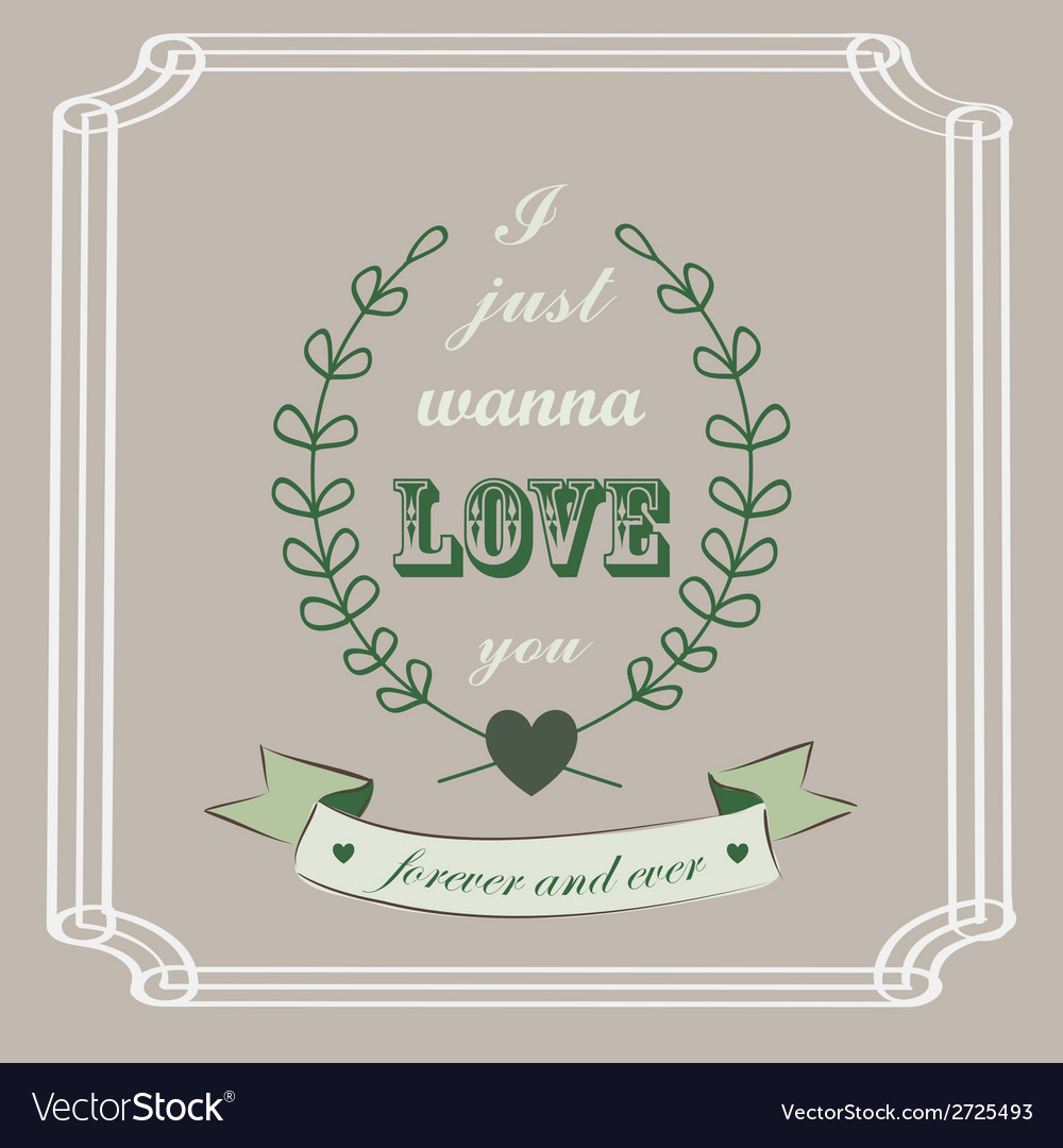 Romantic card in vintage style vector | Price: 1 Credit (USD $1)