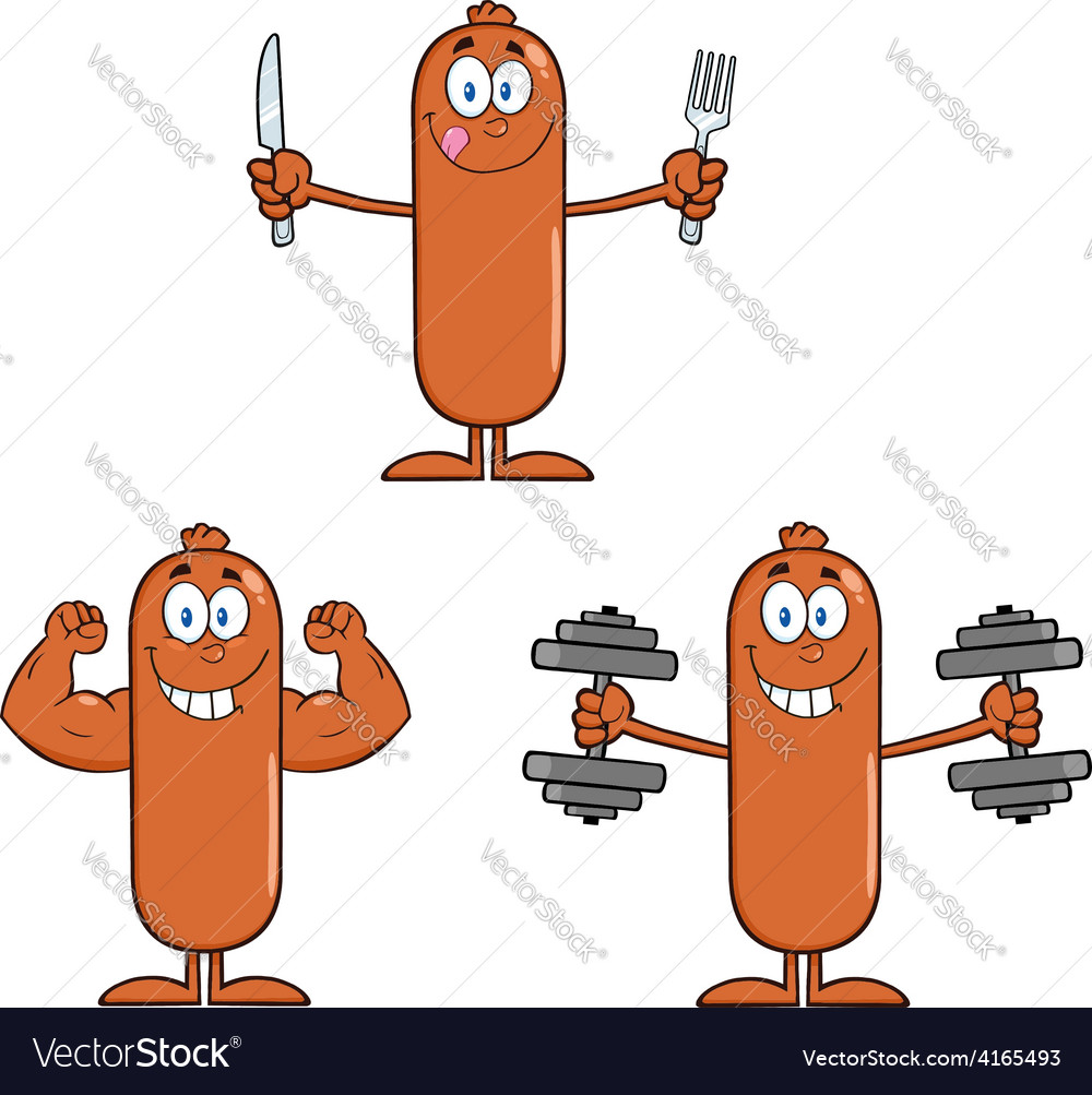 Sausage cartoon vector | Price: 1 Credit (USD $1)